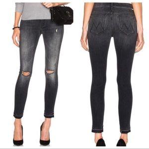 Mother Undone Hem Looker Ankle Skinny Jeans 25
